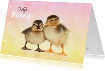 Paaskaart kuikentjes vrolijk Pasen