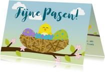 Paaskaarten - Paaskaart met vrolijk kuiken in vogelnest