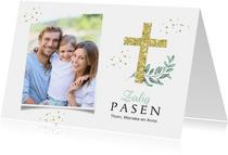 Paaskaart stijlvol christelijk zalig pasen kruis goud foto