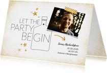 Partyeinladung Let the party begin mit Foto