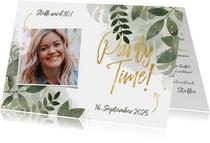 Partyeinladung zum Geburtstag botanisch mit Foto