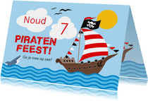 Piratenfeest uitnodiging piratenschip
