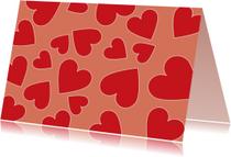 Rode hartjes op rode achtergrond