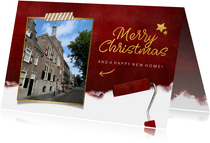 Rode kerst verhuiskaart met verfroller en eigen foto