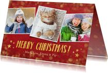 Rode kerstkaart met foto, gouden sterren, tekst en confetti