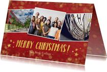 Rode zakelijke kerstkaart met goud en 3 eigen foto's