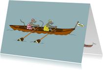 Succes kaarten - Roeiboot met twee muizen
