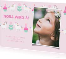 Rosa Einladung mit Foto, Einhorn und Cupcakes