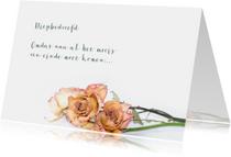 Rouw Gedroogde rozen liggend