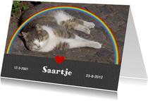 Rouwkaart met foto - regenboog hart