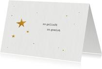 Rouwkaart voor overleden kindje met gouden sterretjes