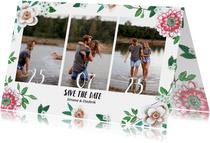 Save the date bloemen botanisch met foto's