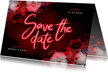 Save the date hip neon bloemen