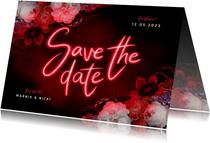 Save the date hip neon bloemen