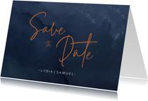 Save the date kaart met donkerblauwe waterverf