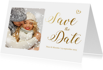Save the date kaart met gouden letters