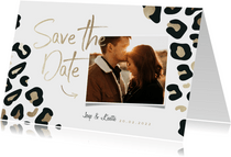 Save the Date kaart panterprint goudlook met foto