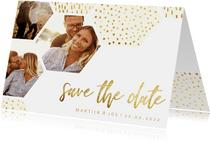 Save the date kaart zeshoek fotocollage met gouden confetti
