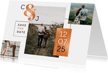 Save-the-Date-Karte Hochzeit Kupfer grafisch Fotocollage