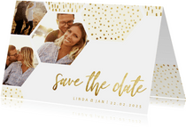 Save-the-Date-Karte Sechseck Fotos Goldlook