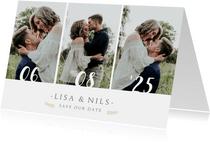 Save-the-Date-Karte zur Hochzeit mit eigenem Foto und Herzen