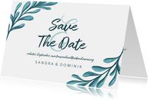 Save-the-Date-Karte zur Hochzeit mit gemalten Zweigen