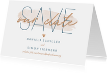 Save-the-Date-Karte zur Hochzeit 'Save our date' im Goldlook