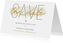 Save-the-Date-Karte zur Hochzeit 'Save the date' im Goldlook