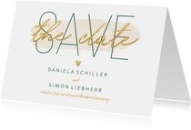 Save-the-Date-Karte zur Hochzeit 'Save the date' im Goldlook