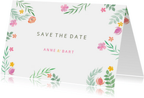 Save the date kleurrijk botanisch