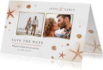 Save the date strand zee schelpen zeesterren bruiloft