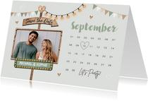 Save the date trouwkaart kalender houtlookwegwijzers