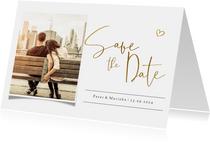 Save the datekaart met eigen foto en gouden tekst en hartje