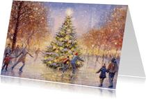 Schaatsende mensen op het ijs rondom de kerstboom