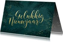 Sierlijke nieuwjaarskaart goudlook kalligrafie