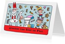 Sinterklaaskaart met sint en piet op het dak