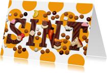 Sinterklaaskaart Sint met oranje stippen - OT