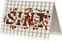 Sinterklaaskaart Sint met ruitjes beige - OT
