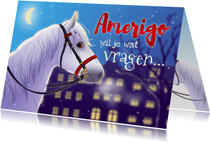 Sinterklaaskaart uitnodiging met Amerigo paard