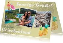 Sommerliche Urlaubskarte mit drei Fotos