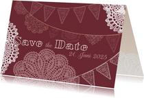 Spitze und Wimpel Save-the-Date-Karte