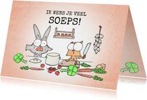 Sterkte kaart met een konijn en een eekhoorn in de keuken