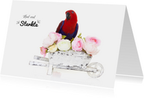 Sterkte kaart | Papegaai met bloemen