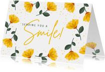 Sterkte kaart sending you a smile met vrolijke gele bloemen