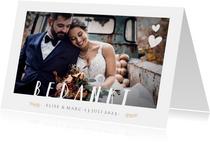 Stijlvol bedankkaartje huwelijk met 1 grote foto en namen