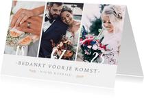Stijlvol bedankkaartje voor jullie huwelijksdag met 3 foto's
