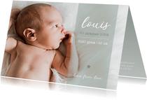 Stijlvol geboortekaartje met grote foto