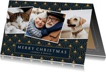 Stijlvolle art-deco kerstkaart met 3 eigen foto's