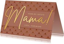 Stijlvolle art-deco moederdagkaart met goud en zalmroze