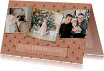 Stijlvolle art -deco roze kerstkaart met 3 eigen foto's